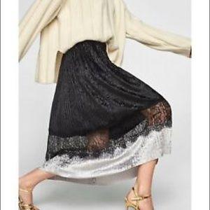 Zara Pleated Velvet Midi Skirt Size XS
